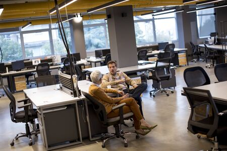 Senior businesswoman and young businessman having conversation in the modern office Banco de Imagens