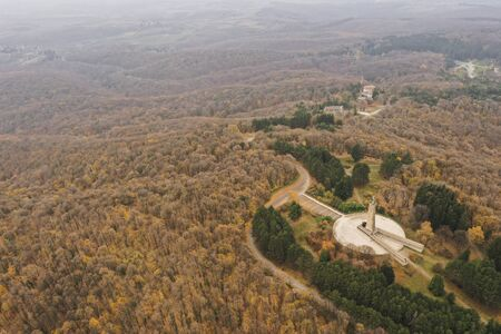 Aerial view at monument Freedom on  Fruska Gora mountain, near Novi Sad, Serbia at autumn time. Monument was made in 1951, in  memory of partisan fighters in World War II