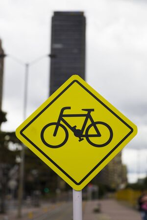 Closeup of the bicycle lane sign in Bogota, Colombia