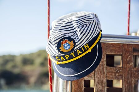 Closeup of the captain hat on the sailboat Reklamní fotografie