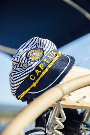 Closeup of the captain hat on the sailboat Stok Fotoğraf