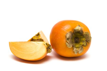 View at Asian persimmon isolated on the white background