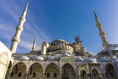 Exterior detail view at Sultan Ahmed Mosque (Blue Mosque) in Istanbul, Turkey Archivio Fotografico