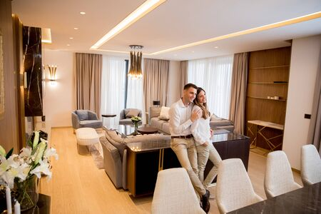 Young couple embracing standing in living room of a contemporary apartment