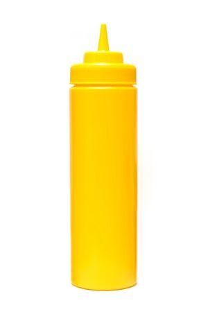 Mustard bottle isolated on the white background