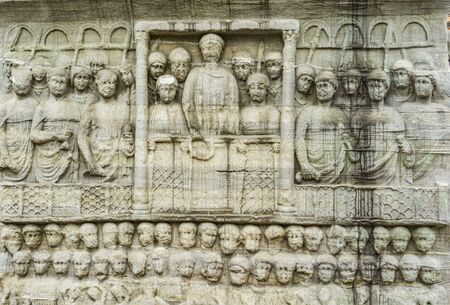 Detail of the pedestal of Obelisk of Theodosius in Istanbul, Turkey. Relief representing Theodosius I offers laurels of victory.