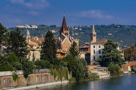 View at old buildings by the Adige river in Verona, Italy