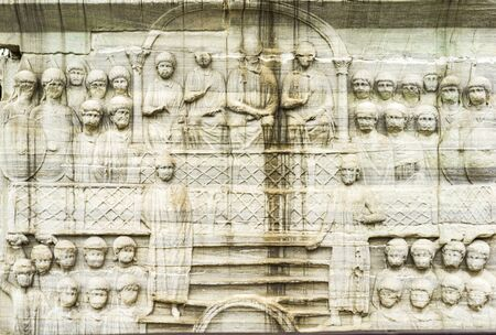 Detail of the pedestal of Obelisk of Theodosius in Istanbul, Turkey. Relief representing emperor and his court.