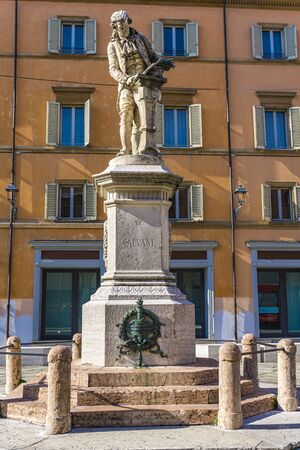 View at statue of Luigi Galvani in Bologna, Italy. Statue is made by Adalberto Cencetti at 1879