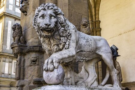 Florence lion statue made by Vacca (1598), at the Loggia dei Lanzi in Florence, Italy