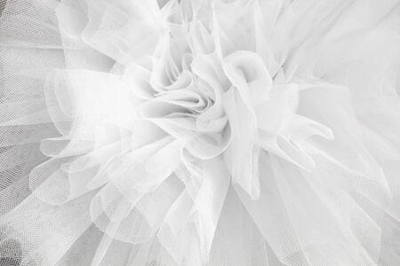 Closeup detail backdrop of the ballerina white tutu dress