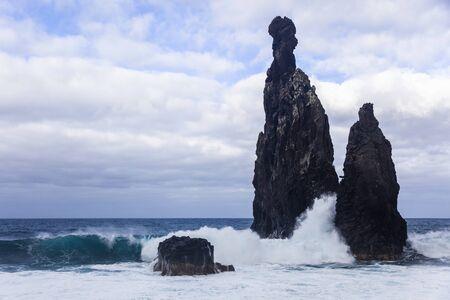 View at rock formation of Ribeira da Janela at Madeira island, Portugal
