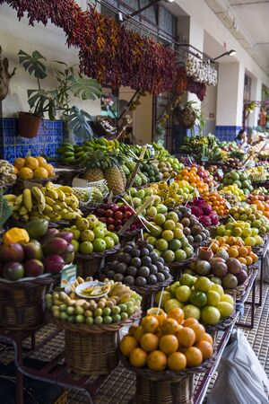 View at exotic fresh fruits stall at the Funchal market on the island of Madeira in Portugal