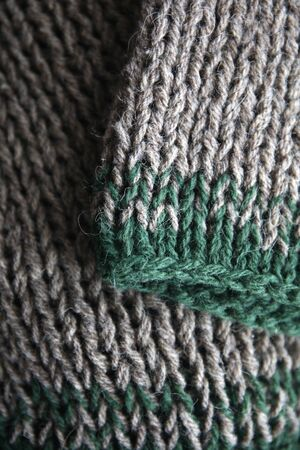 Closeup detail of the handmade knitting texture