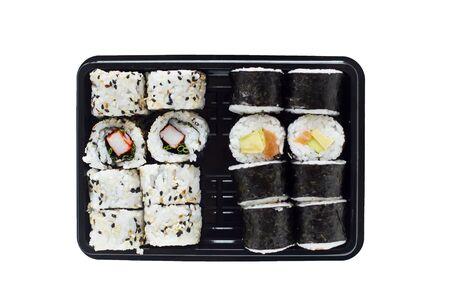 Fresh made sushi maki and rolls on the plate 免版税图像