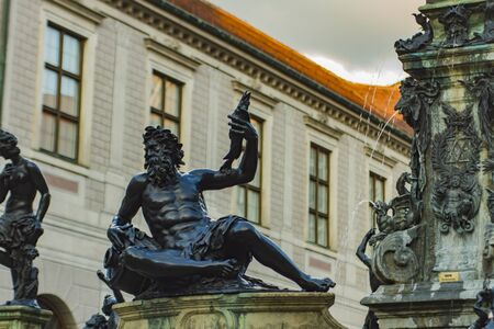 Wittelsbach Fountain with Duke Otto I in Munich, Germany. Fountain was made by Hubert Gerhard & Hans Krumpper at 1623