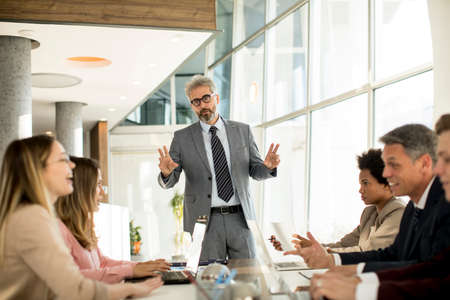 Mature businessman explaining strategy to group of multiethnic business people while working on new project in the office Reklamní fotografie