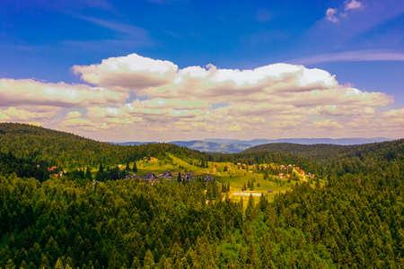 View at Mitrovac village on Tara mountain in Serbia