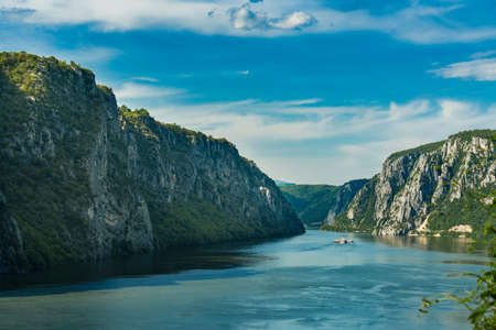 View at Danube gorge in Djerdap on the Serbian-Romanian border