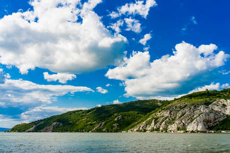 View at Danube gorge in Djerdap on the Serbian-Romanian border