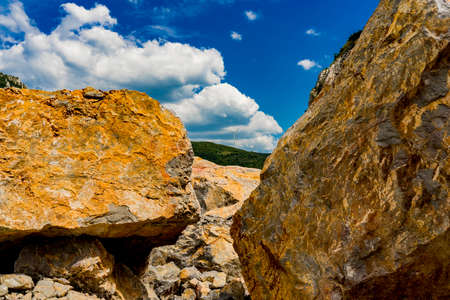 View at stone boulders at Danube gorge in Djerdap on the Serbian-Romanian border