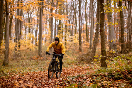 Handsome young man biking through autumn forest 스톡 콘텐츠