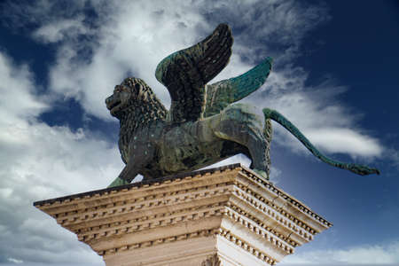 View at Lion of Venice at Piazza San Marco in Venice, Italy