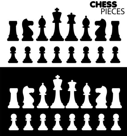 king master: Black   White shapes of chess pieces   Illustration