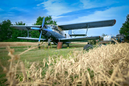 plan éloigné: Mechanic is fixing airplane on a meadow nearby to a wheat field Old biplane is broken during watering of sunflowers fields. Mid adult man is trying to fix it. Banque d'images