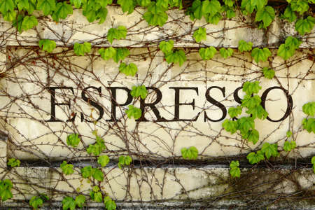 ivy wall: Outdoor Espresso sign on stone wall covered with ivy Stock Photo