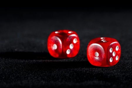 Rolling winning dice at casino photo