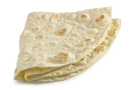 Folded pita bread - isolated photo
