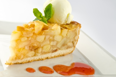 Apple pie with ice cream photo
