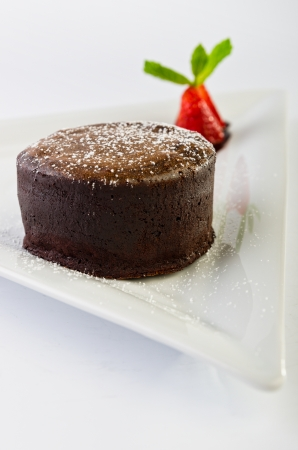Hot chocolate fondant with ice cream  photo