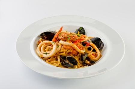Linguine seafood Standard-Bild
