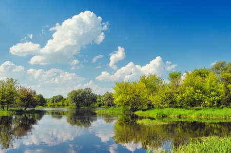 Beautiful landscape wallpaper with flood waters of Narew river, Poland. Stock Photo