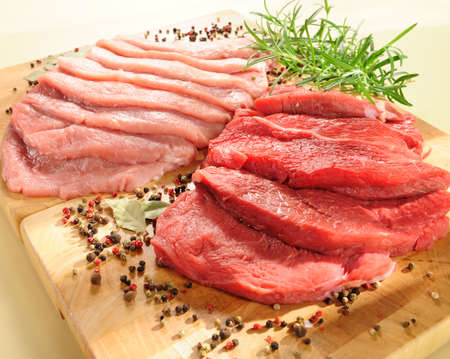 raw pork chop and steaks for barbecue  Stock Photo