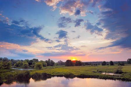 narew: Beautiful Sunrise. Flood waters of Narew river, Poland.
