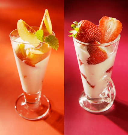 set of two dairy desserts with strawberry and peach. yoghurt, pudding, milkshake, ice cream etc.