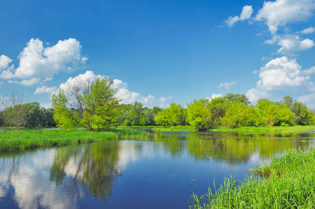 narew: Spring Landscape with flood waters of Narew river, Poland.
