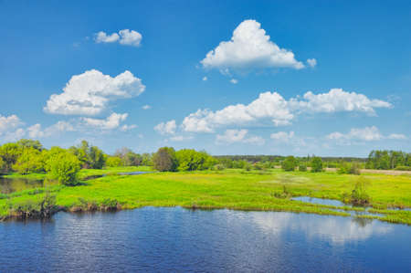 Flood waters of Narew river, Poland. Beautiful wallpaper.