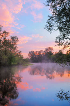 The morning landscape with fog and warm pink sky over the Narew river, Poland Stock Photo - 13539304