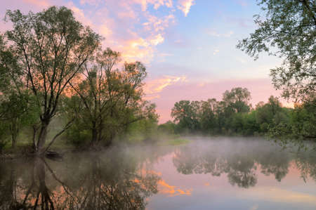 The morning landscape with fog and warm sky over the Narew river, Poland