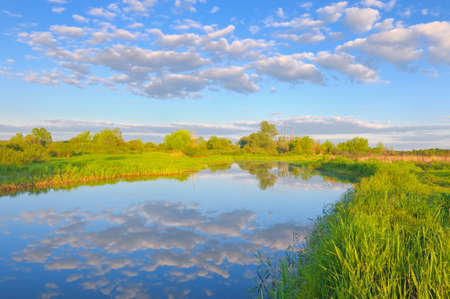 Rural landscape with Narew river and Stratocumulus clouds  photo