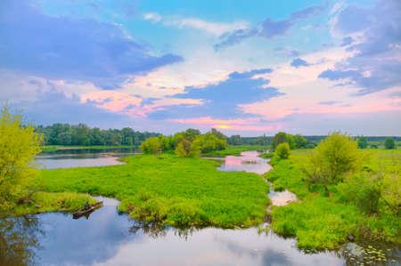 narew: Sunrise over the Narew river in Poland