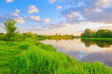 Beautiful landscape with Narew river, Poland photo