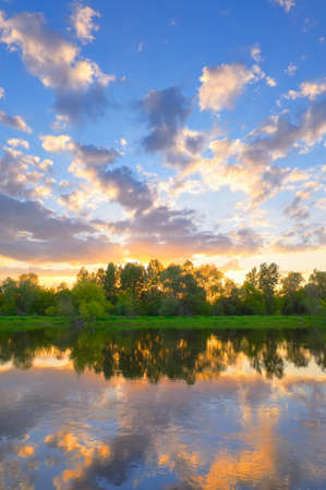 Beautiful landscape with Narew river, Poland