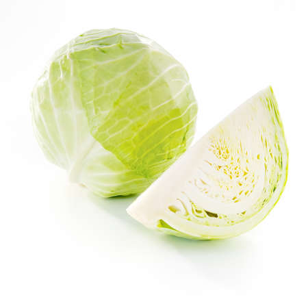 Whole cabbage and a part on white backgroundand