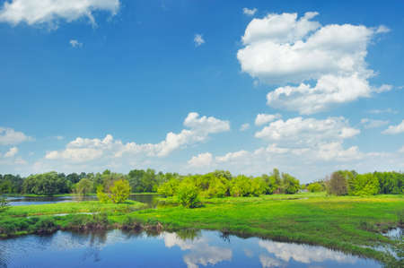 Beautiful rural landscape with flood waters of Narew river in Poland  Stock Photo - 13846973