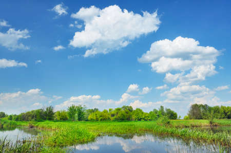Beautiful rural landscape with flood waters of Narew river in Poland  photo